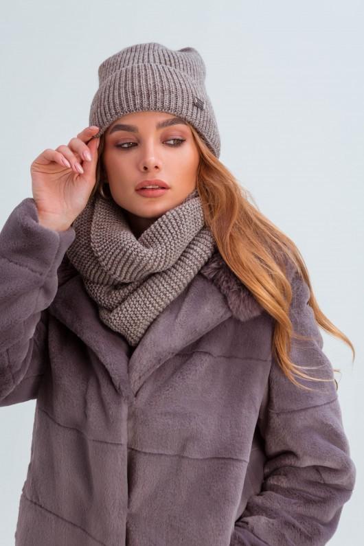 Шапка и шарф из мелкой вязки «Остин» бежевые