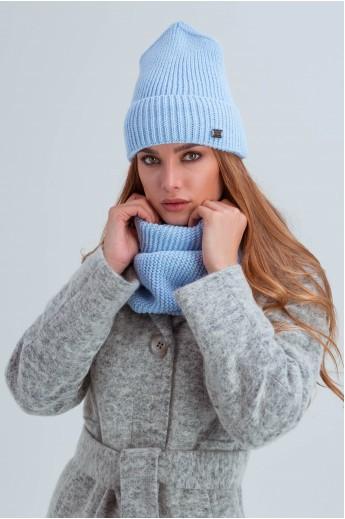 Шапка и шарф из мелкой вязки «Остин» голубые