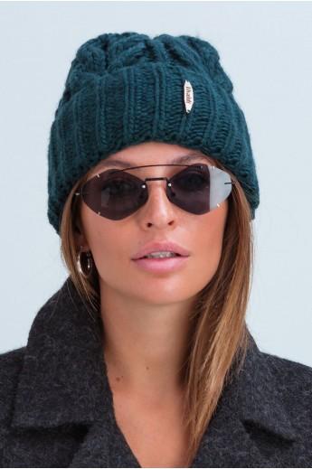 Вязаная женская шапка «Эри» изуируд
