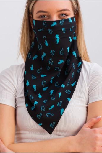 Дизайнерская маска-платок с принтом черно-голубая