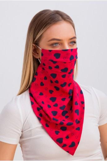 Дизайнерская маска-платок с принтом коралловая