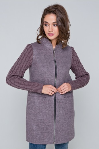 """Пальто с вязаными рукавами """"Алана"""" серо-розовое"""