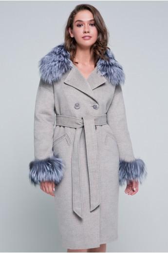 Пальто с мехом на рукавах «Уитни»