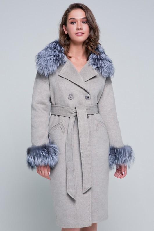 Пальто с мехом на рукавах «Уитни» капучино