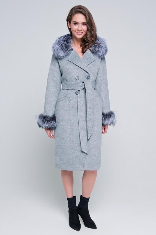 Пальто с мехом на рукавах «Уитни» серое