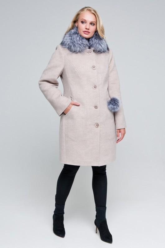 Зимнее пальто «Надин» бежевое