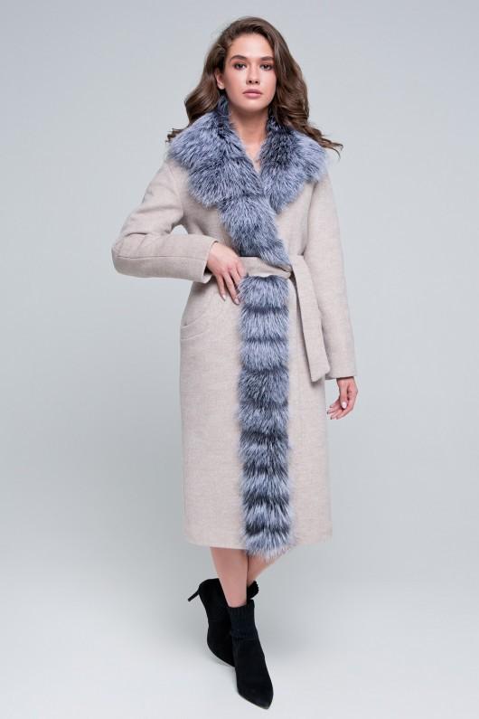 Пальто с мехом по борту «Габриэль» бежевое