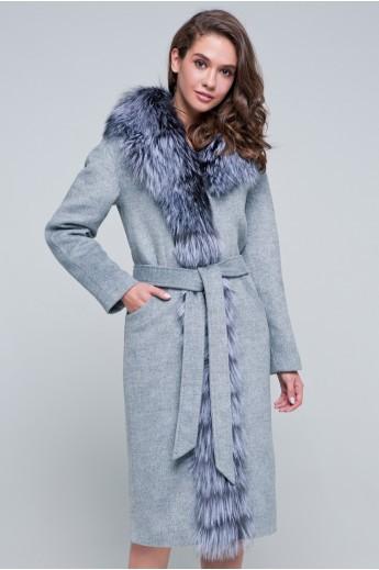 Пальто с мехом по борту «Габриэль» серое