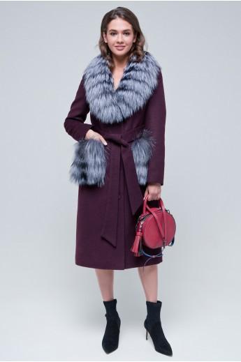 Пальто с меховыми карманами «Мэдисон» бордовое