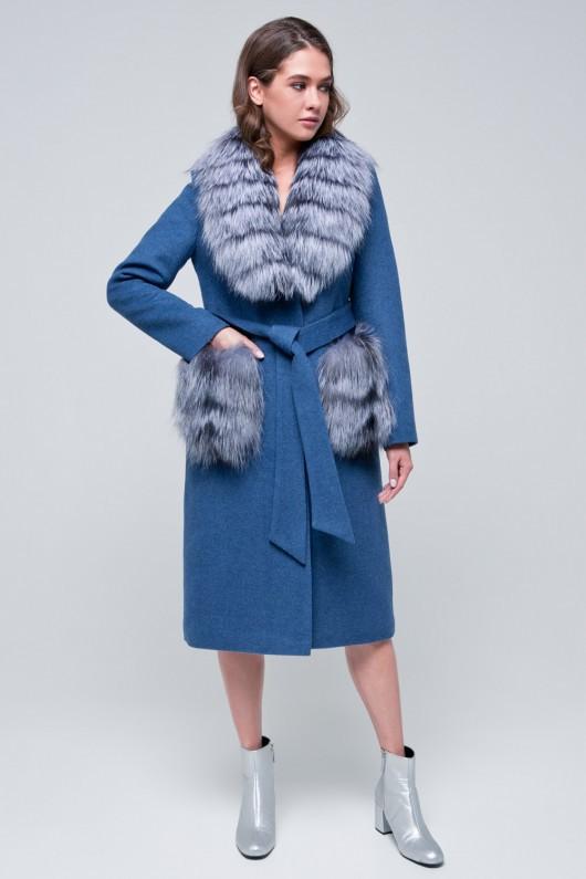 Пальто с меховыми карманами «Мэдисон» голубое