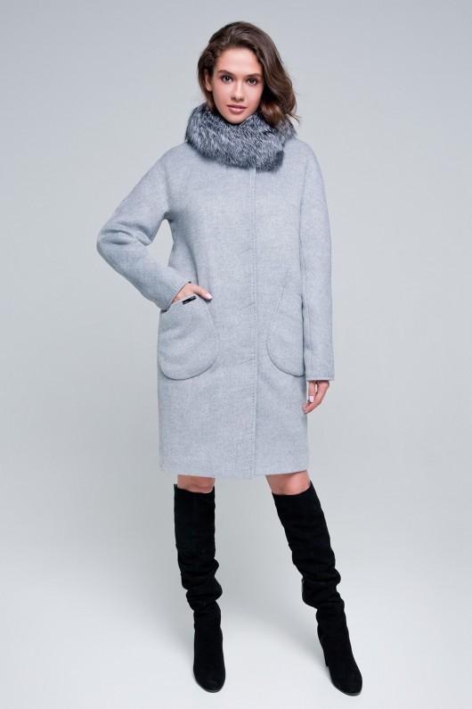 Зимнее пальто «Марта» светло-серый