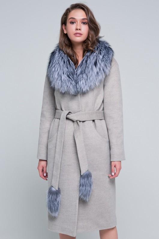 Пальто с мехом «Тати» капучино