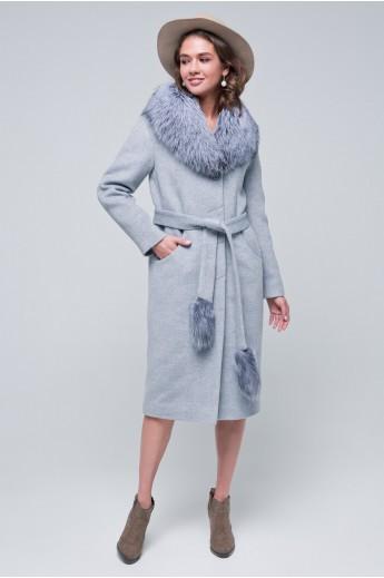 Пальто с мехом «Тати» светло-серое