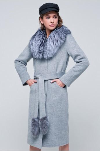 Пальто с мехом «Тати» серое