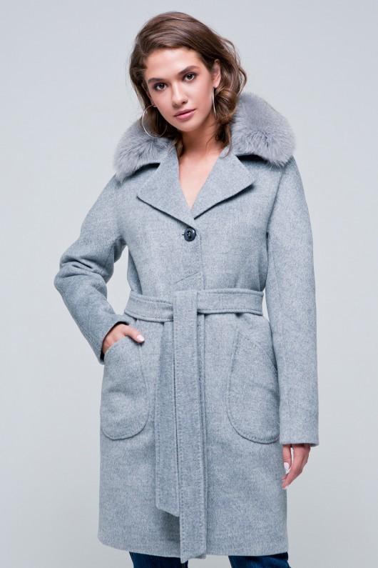 Утепленное пальто «Бонни» серое