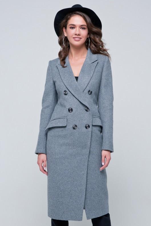Двубортное пальто «Рене» светло-серое
