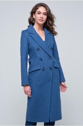 Двубортное пальто «Рене» голубое