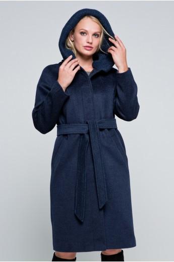 Утепленное пальто «Дайана» синее