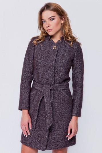 Пальто твидовое «Джун» коричневое