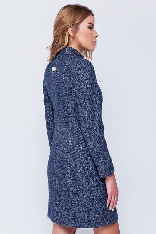 Пальто твидовое «Джун» синее
