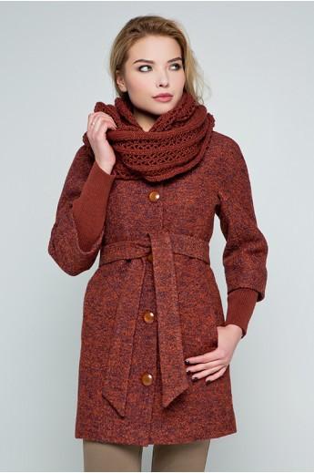 """Пальто с шарфом """"Мери"""" терракот"""