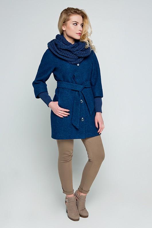 """Пальто с шарфом """"Мери"""" морская волна"""