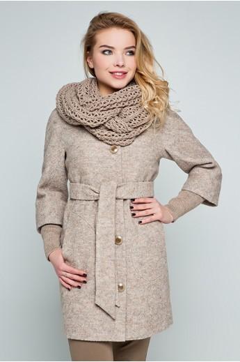 """Пальто с шарфом """"Мери"""" бежевое"""