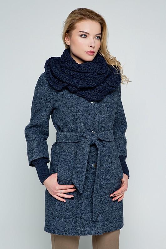"""Пальто с шарфом """"Мери"""" антрацит"""