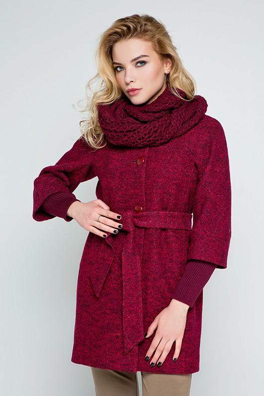 """Пальто с шарфом """"Мери"""" бордовое"""