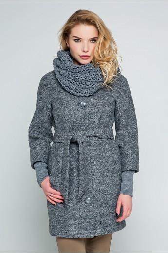 """Пальто с шарфом """"Мери"""" темно-серый"""