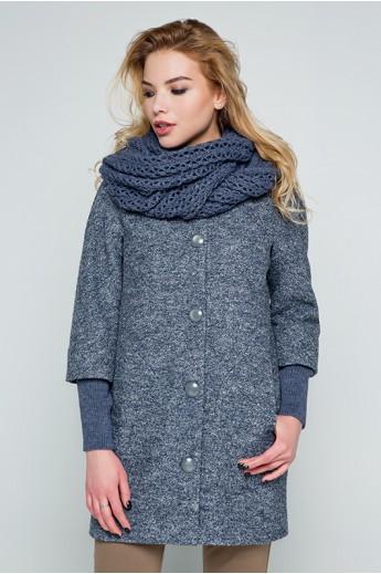 """Пальто с шарфом """"Мери"""" серо-синее"""