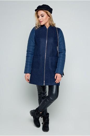 """Пальто с плащевкой """"Алана"""" синее"""