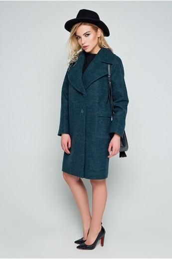 """Пальто с  отложным воротником """"Холли"""" зеленое"""