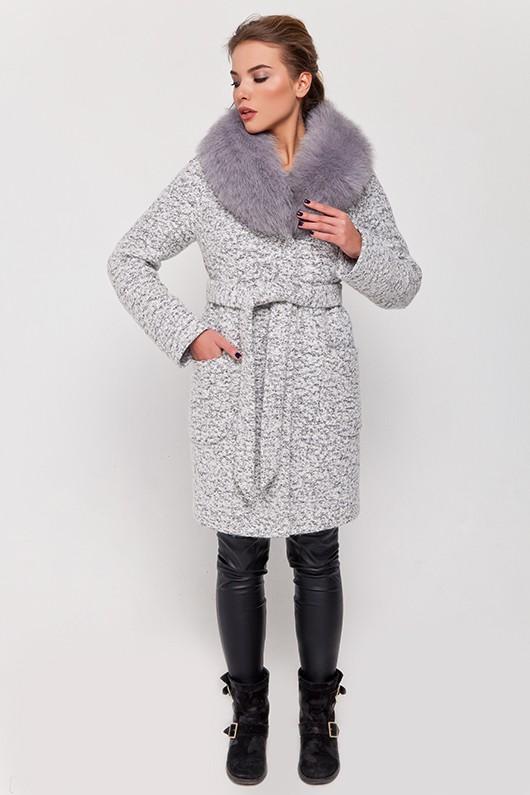 Зимнее пальто с мехом «Амели» светлое
