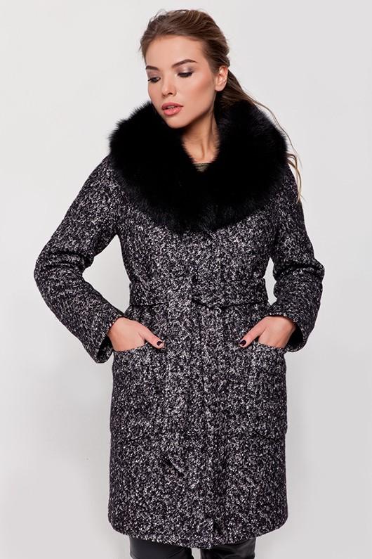 Зимнее пальто с мехом «Амели» черно-белое