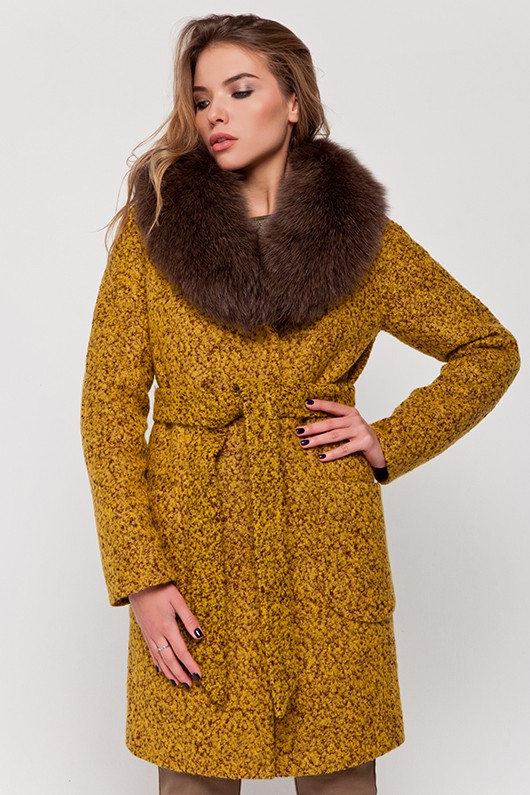 Зимнее пальто с мехом «Амели» горчица