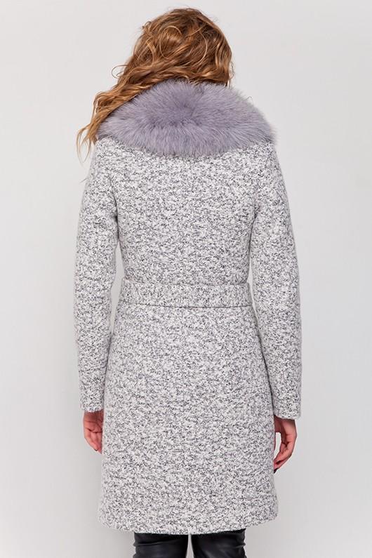 Зимнее пальто с мехом «Белла» светлое