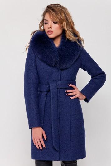 Зимнее пальто с мехом «Белла» синее