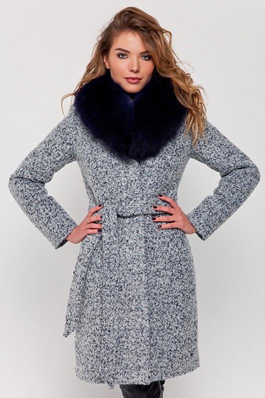 Зимнее пальто с мехом «Белла» серое
