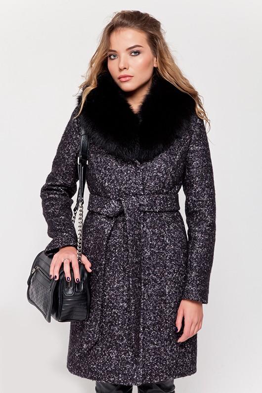 Зимнее пальто с мехом «Белла» черно-белое