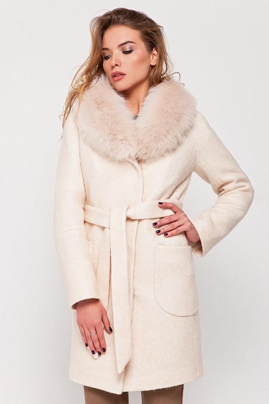 Зимнее пальто с мехом «Белла» персиковое