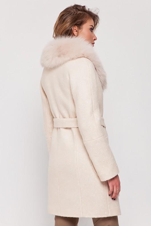 Зимнее пальто с мехом «Амели» персиковое