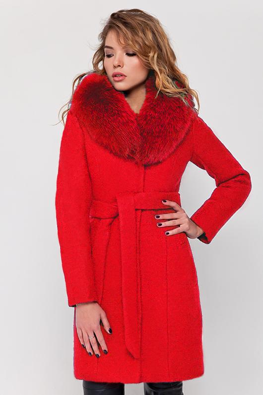 Зимнее пальто с мехом «Белла» красное