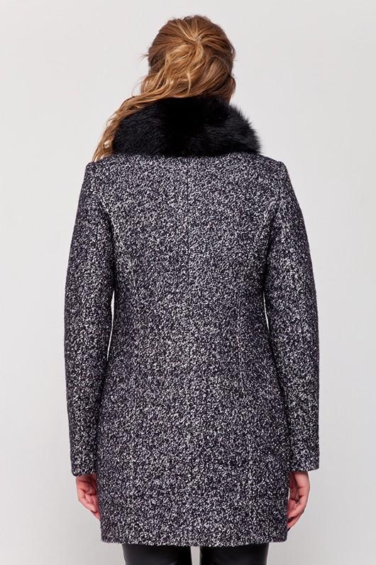 Зимнее пальто с мехом «Полин» черно-белое