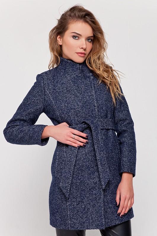 Пальто твидовое «Сандра» синее