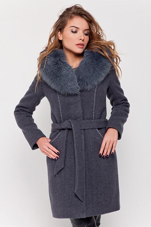 Зимнее пальто с мехом «Вивьен» серое