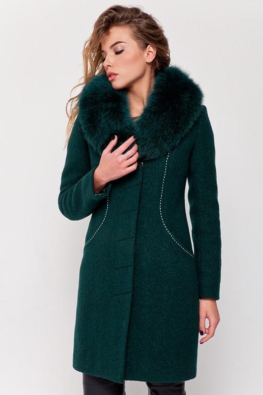 Зимнее пальто с мехом «Вивьен» зеленое