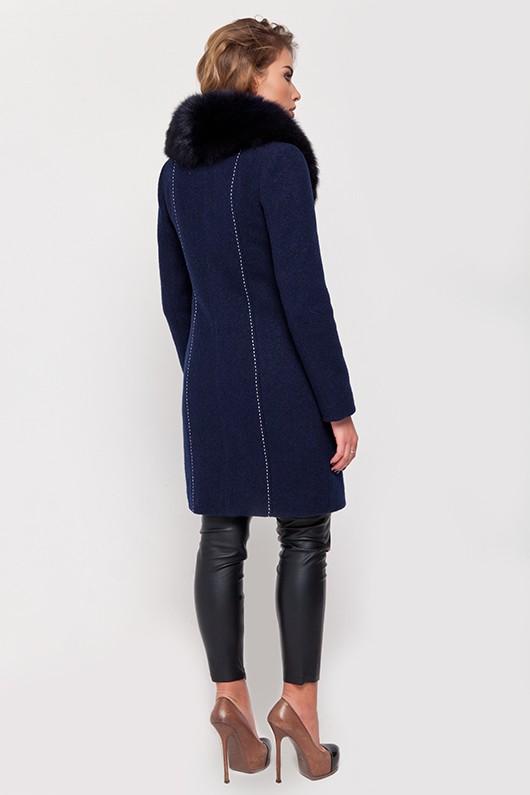 Зимнее пальто с мехом «Вивьен» синее