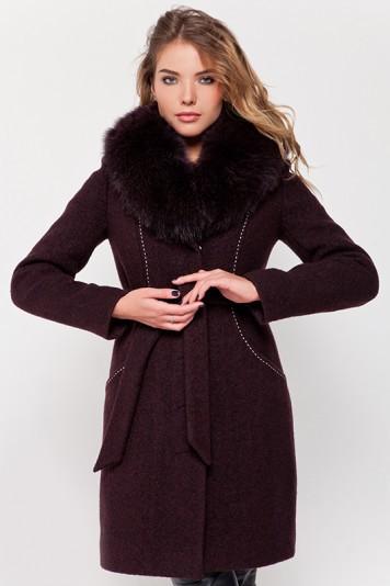 Зимнее пальто с мехом «Вивьен» коричневое