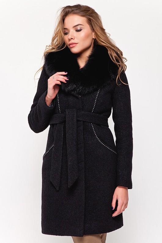 Зимнее пальто с мехом «Вивьен» черное